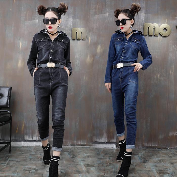 牛仔连衣裤女长袖翻领韩版修身显瘦学生连体工装裤高腰百搭休闲裤