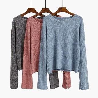 条纹针织打底衫女装秋冬季2018新款韩版宽松内搭长袖t恤潮上衣服