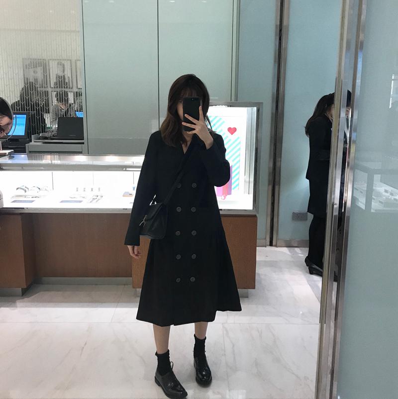 珍珍家定制2019春季新款时尚韩版 优雅气质长款双排扣西装外套女