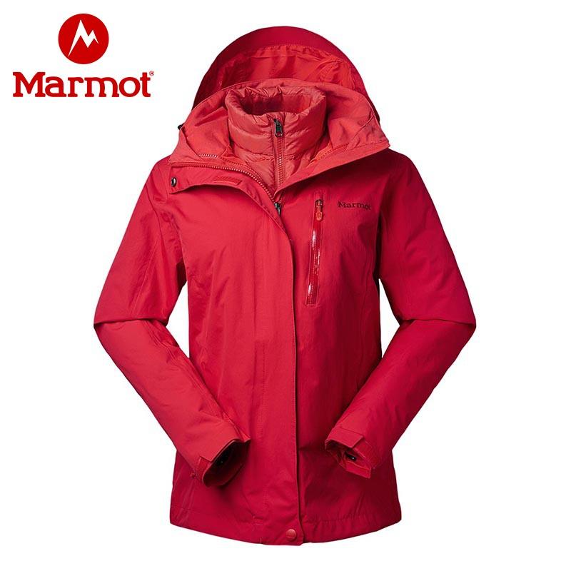 marmot土拨鼠19秋冬新款户外女式防水套鹅绒羽绒内胆三合一冲锋衣