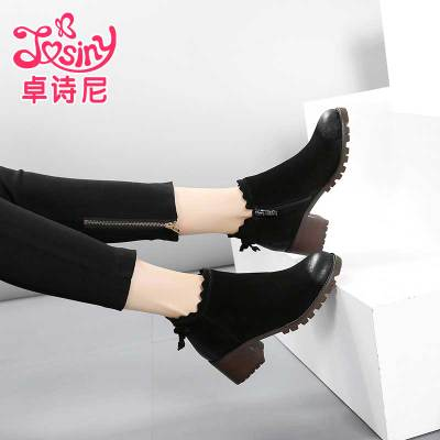 卓诗尼2017冬季新款女鞋圆头侧拉链磨砂皮短靴女粗跟高跟马丁靴