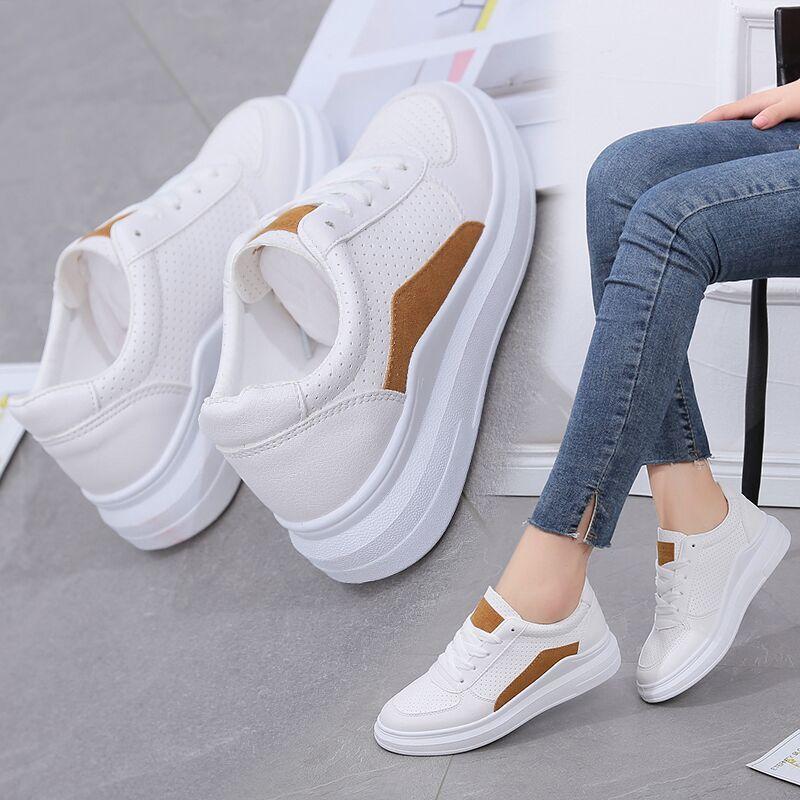 小白鞋女2018夏季新款百搭韩版学生透气厚底休闲白鞋板鞋运动单鞋
