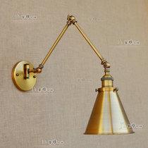 美式创意仿古风长杆伸缩折叠古铜壁灯装饰卧室床头餐厅loft灯