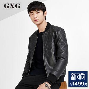 GXG男装 春季男士时尚青年修身型黑色休闲流行皮衣外套#63212373