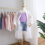 2019 summer new Korean version of the girl's sun protection clothing parent-child wear mother-in-law foreign long-sleeved ruffled yarn