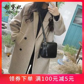 彩黛妃2018秋冬新款韩版女装毛呢外套修身显瘦大码中长款呢子大衣