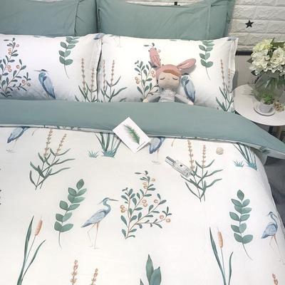 时尚田园绿色植物花鸟全棉四件套纯棉1.5/1.8m双人床上用品床笠式