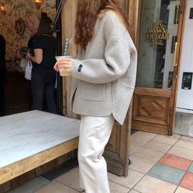 毛呢外套女短款小个子2019韩版宽松学生休闲小西装千鸟格呢子大衣图片