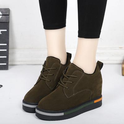 秋冬马丁靴女2018新款英伦短筒坡跟内增高靴子单靴黑色系带短筒靴