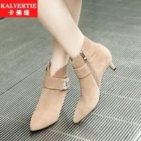 细跟中跟鞋秋冬欧洲站尖头马丁靴时尚短筒靴休闲驼靴子女鞋