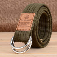 Student men and women general canvas belt casual military training jeans double ring buckle belt outdoor Korean version of the braid