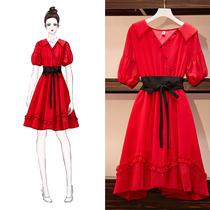 大码女夏装微胖妹妹法国小众桔梗裙胖仙女显瘦洋气红色连衣裙减龄