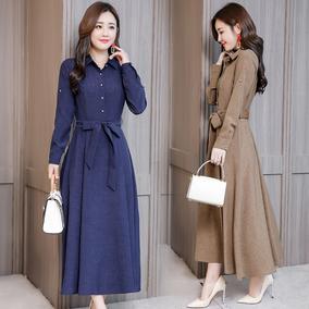 2018秋季新款女装韩版收腰显瘦妈妈优雅气质时尚长袖棉麻连衣裙女