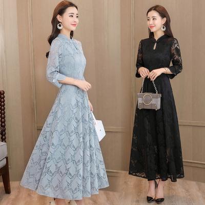 2018秋季新款女装复古优雅改良旗袍裙气质长款显瘦收腰蕾丝连衣裙
