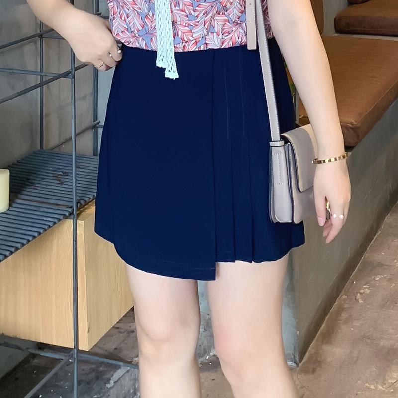 采多宝大码女装胖mm2019夏装褶皱通勤适合大腿根粗的A字裙裤K0115