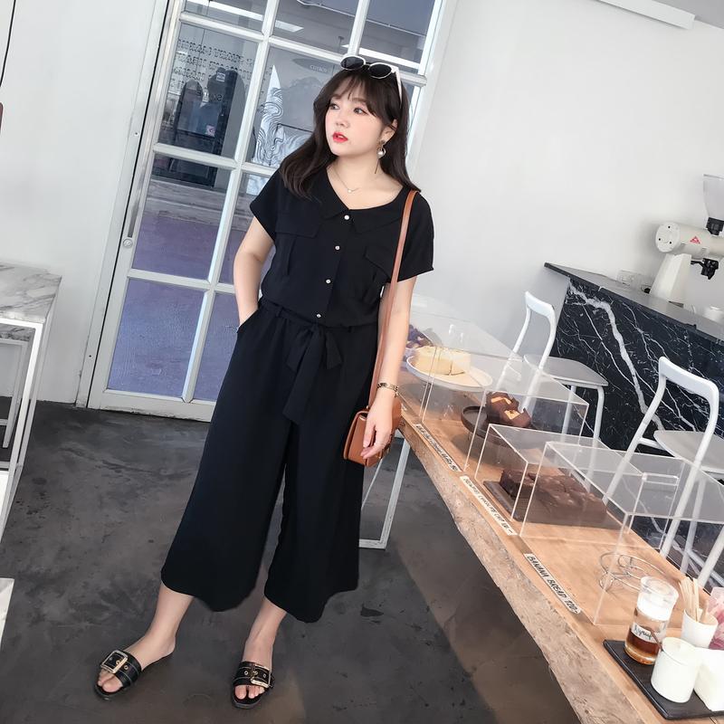 采多宝大码女装2019胖妹妹春装韩版时尚200斤女裤连体裤藏肉K992