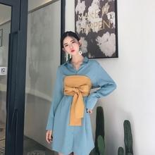 2017秋装新款复古翻领中长款宽松长袖衬衫+绑带裹胸气质套装女