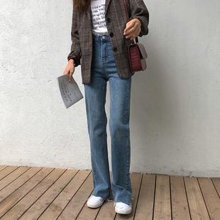 2018新款韩版做旧高腰裤脚毛边宽松直筒阔腿微喇叭裤牛仔长裤女