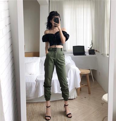 夏季港风高腰裤宽松帅气BF风工装裤束脚休闲裤2018哈伦裤女