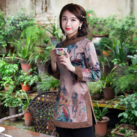 冬2018新款上衣女加厚保暖唐装夹棉改良复古民国装中国风外套女