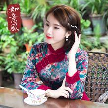 如意风夹棉旗袍冬女长袖上衣秋冬民族风棉衣复古中国风改良版唐装