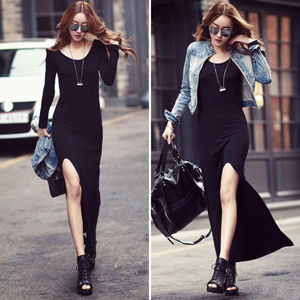 莫代尔长裙女夏紧身吊带连衣裙开叉裙长款裙子黑色无袖打底背心裙