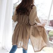 2019春夏新款亞麻料chic小西裝外套女收腰薄款棉麻修身西服七分袖