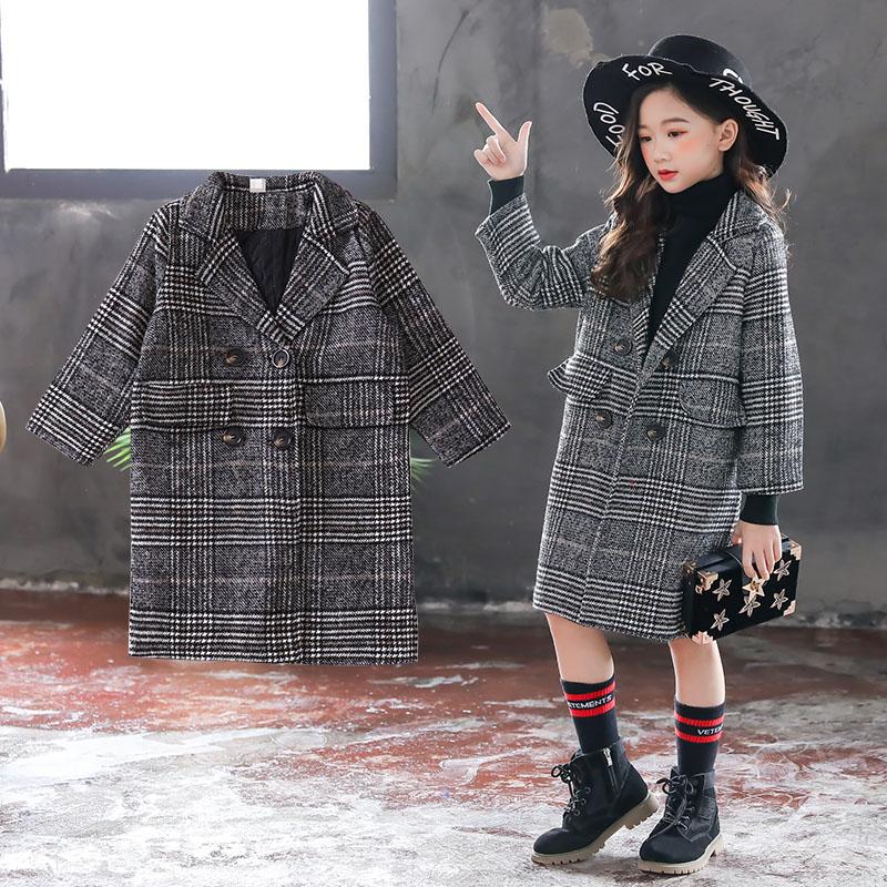 大童外套女童12-15岁女秋2018新款韩版洋气秋冬加厚长款西装风衣6
