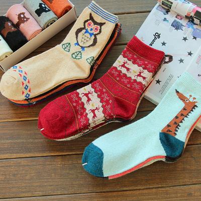 袜子女中筒袜女士秋冬女袜羊毛袜兔毛加厚保暖毛巾袜韩国卡通可爱