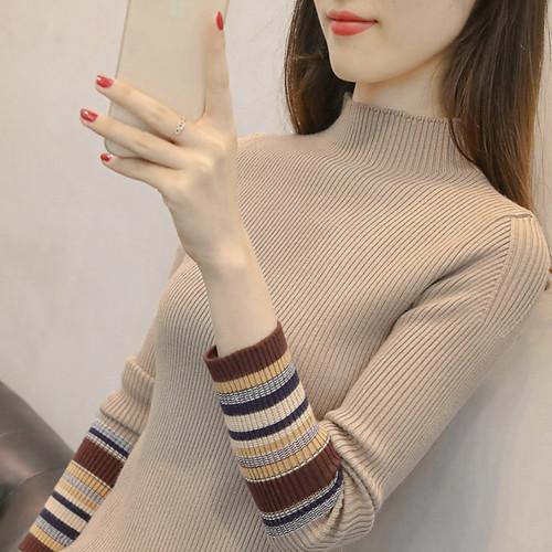 半高领毛衣女加厚秋冬新款短款修身显瘦套头针织打底衫女长袖内搭