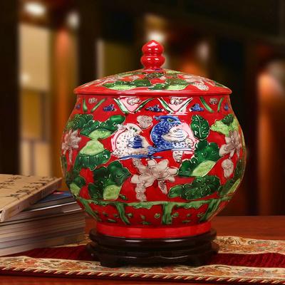 景德镇陶瓷器 仿古雕刻红色鸳鸯摆件 储物罐 米缸 瓜子缸结婚礼物