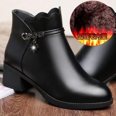 妈妈鞋棉鞋女秋冬季加绒真皮女士短靴中年女靴皮鞋中跟中老年女鞋