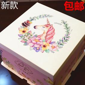 18新款吉祥独角兽6寸8寸生日蛋糕盒厂家直销包邮加高芭比蛋糕盒
