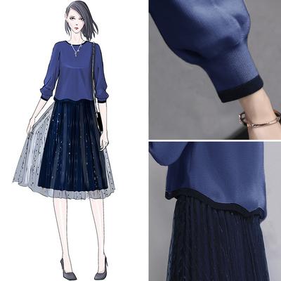 毛衣搭配裙两件套2018新款女装春装时髦套装洋气网纱连衣裙气质潮