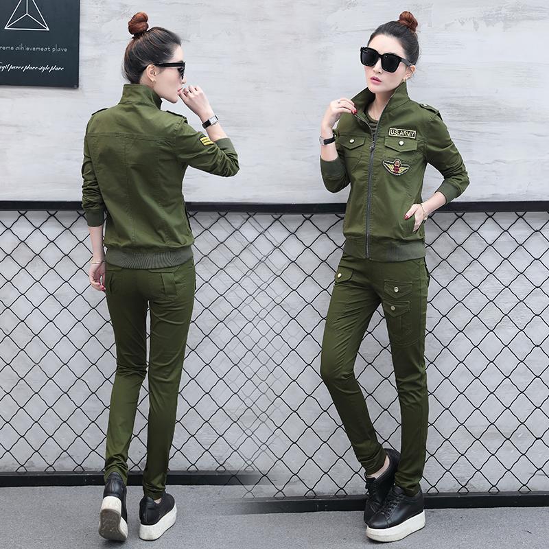 迷彩服套装女2018春秋季新款运动服女士韩版时尚大码休闲三件套潮
