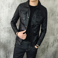 Autumn and winter new style, slim style, short leather jacket, men's Korean version, teenage students, thickening jackets.