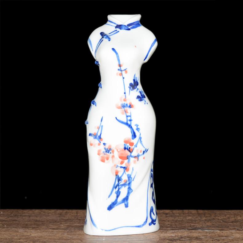 蓝玉陶瓷旗袍青花瓷花瓶LY-HP-139