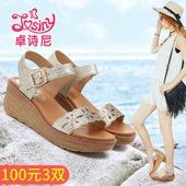 卓诗尼凉鞋夏季新款时尚百搭露趾坡跟休闲舒适女鞋162134530
