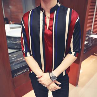 2018夏季新款套头衬衫男士透气条纹衫短袖英伦青年休闲V领半袖T恤