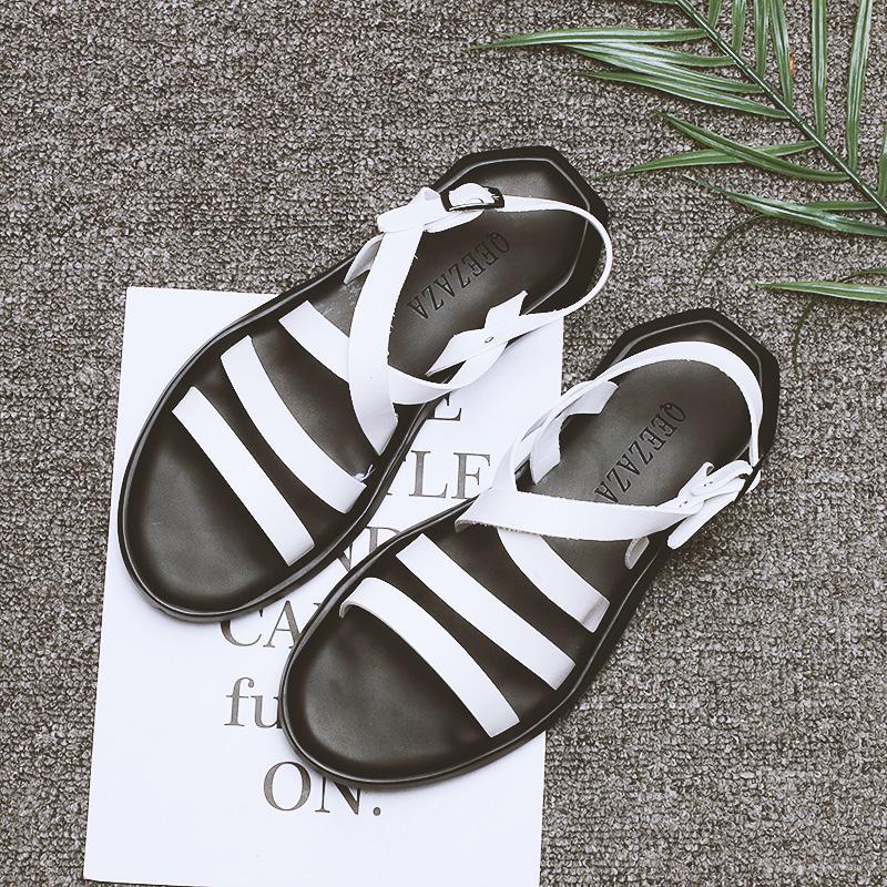 夏季新款罗马凉鞋男潮流百搭休闲韩版潮流平底英伦男士真皮沙滩鞋