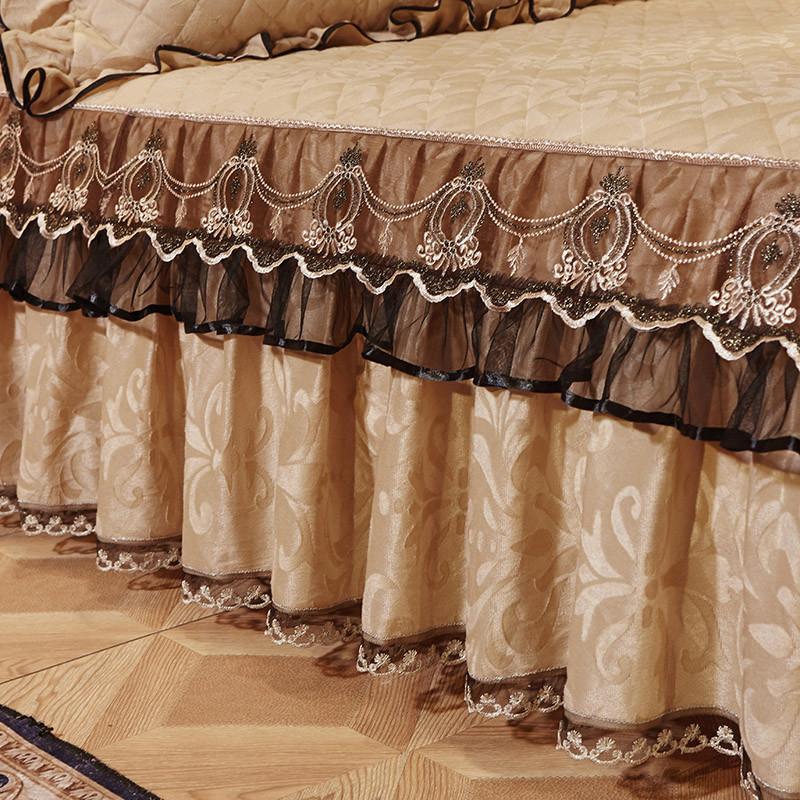 欧式夹棉蕾丝床裙单件天鹅绒保暖加厚床罩单双人冬席梦思床套1.8m