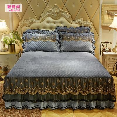 欧式水晶绒床裙单件夹棉加厚短毛绒蕾丝床罩席梦思双人床套防滑