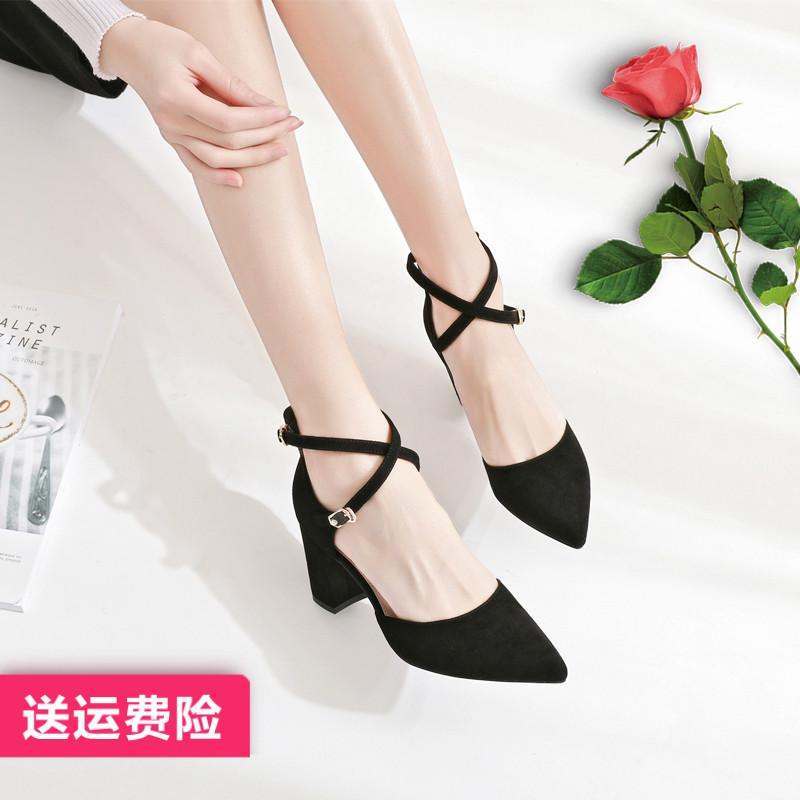 卓诗尼2019单鞋女高跟鞋粗跟黑色秋鞋百搭春款中跟新款秋季女鞋春
