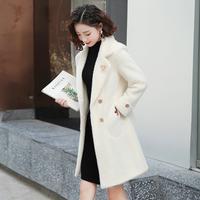 金貂绒大衣女2018新款冬季韩版加厚呢子中长款小个子女装毛呢外套