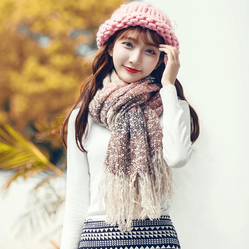 毛线长保暖围脖 围巾女冬季学生加厚大披肩杉杉来了同款 韩版