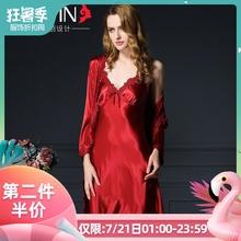 夏季睡裙女纺真丝睡衣睡袍套装 薄夏天冰丝绸红色结婚新娘婚礼晨袍