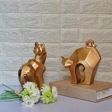 欧式风格几何切面抽象陶瓷金属金色小猫摆件家居别墅样板房摆设