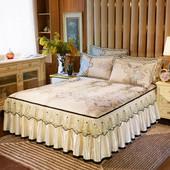 空调软席床罩席子套件可脱卸1.8m 冰丝席欧式凉席三件套蕾丝床裙款图片