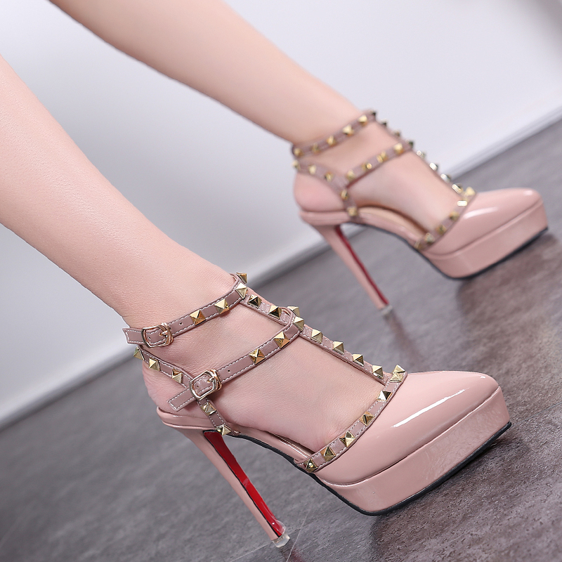 女罗马防水台细高跟鞋