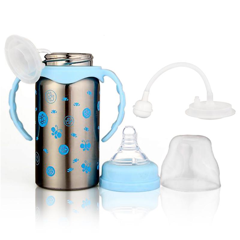 不锈钢带吸管手柄宽口径双层宝宝婴儿儿童两用保温奶瓶
